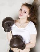 portrait of a girl as a boxer