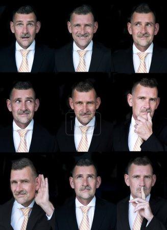 Photo pour Variation de l'expression du visage de l'homme d'affaires - image libre de droit