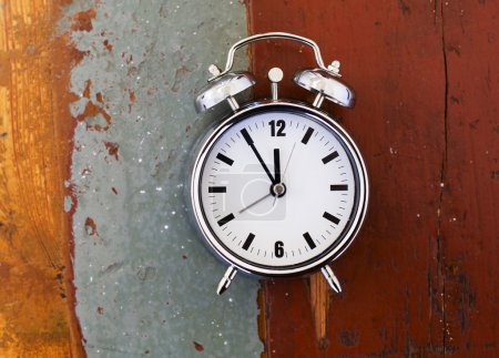 alarm clock on old table