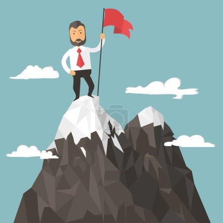 Photo pour Homme d'affaires avec le drapeau sur un pic montagneux, succès et mission cible et victoire, motivation, vainqueur sur le dessus - image libre de droit