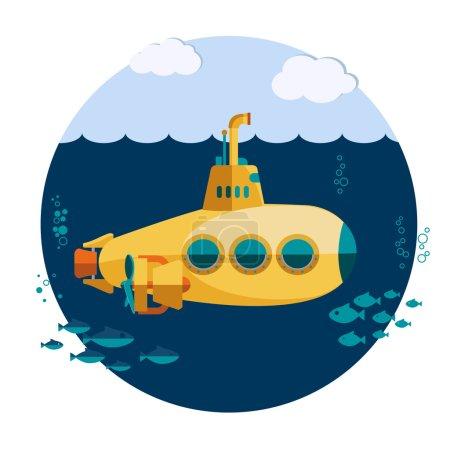 Foto de Submarino amarillo submarino con peces, barco submarino Diseño plano - Imagen libre de derechos