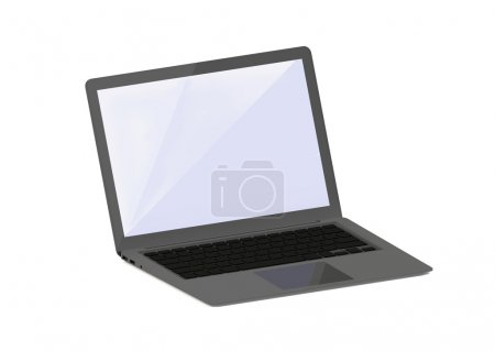 Photo for Rendering of grey laptop computer isolated on white - Royalty Free Image