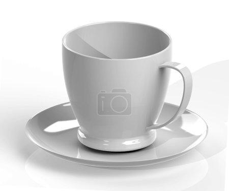 Photo pour Tasse de café gris et soucoupe avec ombre isolé sur fond blanc - image libre de droit