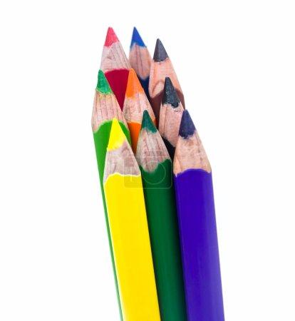 Photo pour Lot de crayons de couleur sur fond blanc - image libre de droit