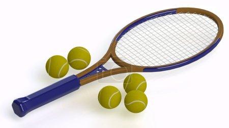 Tennisbalsl and racket