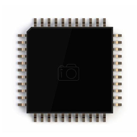 Photo pour 3Drender de micropuce d'ordinateur isolé sur fond blanc - image libre de droit