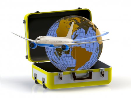 Travel. Suitcase, globe and aircraft