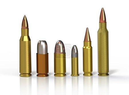 Photo pour Une balle. Rangée de différentes balles sur un sol réfléchissant sur un fond blanc - image libre de droit