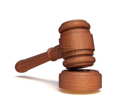 Photo pour Jugement gavel, maillet de vente aux enchères isolé sur blanc - image libre de droit