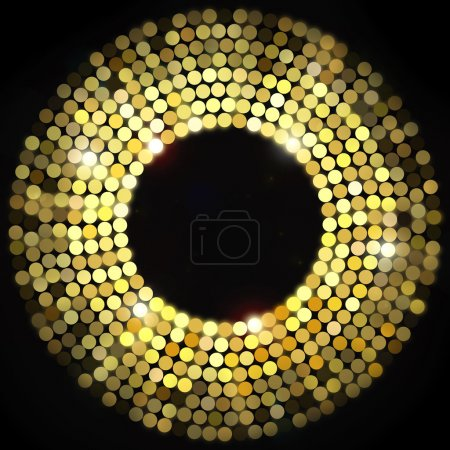 Golden disco lights frame