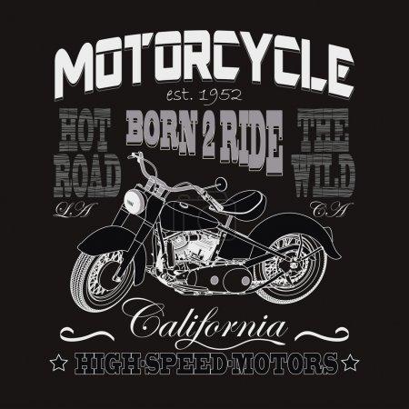 Photo pour Courses de moto Typographie Graphisme. California Motors. T-shirt Design, Porter des motards . - image libre de droit