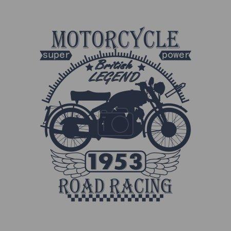 Photo pour Moto Racing Typographie Graphisme Label. Légende britannique. T-shirt Design - image libre de droit