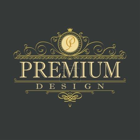 Luxury ornament floral design logo