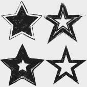 Grunge stars black and white collection