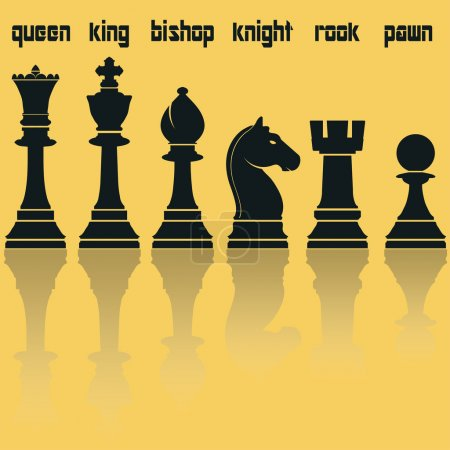Chess Pieces Silhouettes with Reflection. Vector illustration