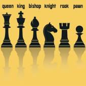 Šachových kusů siluety s odraz. Vektorové ilustrace