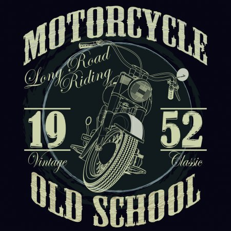 Illustration for Motorcycle Racing Typography Graphics. Old school bike. T-shirt Design, vector illustration - Royalty Free Image