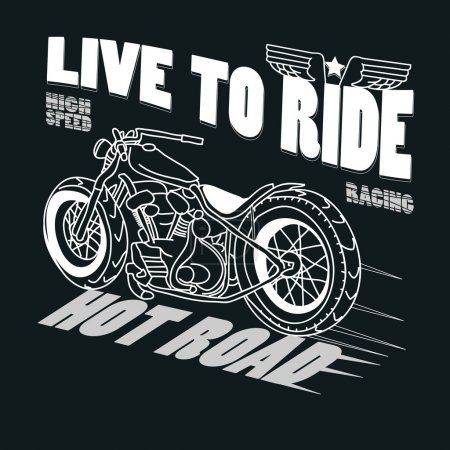 Motorcycle Racing Typography Graphics. T-shirt Design, vector