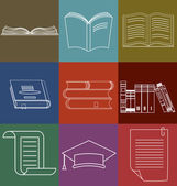 Book Icons Set Document and Paper signs Book stack Library Bookstore - Vector illustration line design elements