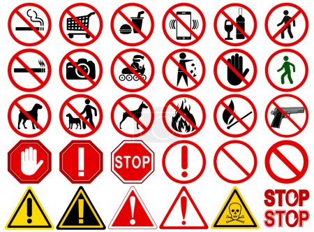 "Illustration for Set of  Signs for Different Prohibited Activities. ""No"" signs, No smoking, No drinking, No photographing, No dogs, No walk and other. Vector illustration - you can simply change color and size - Royalty Free Image"