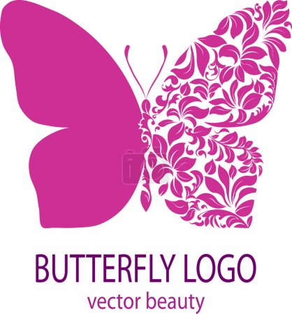 Illustration for Butterfly logo. Purple butterfly with patterned wing, icon, avatar, flower style, spa beauty salon logotype, insignia, label, badge, vector element, floral design template for your business - Royalty Free Image