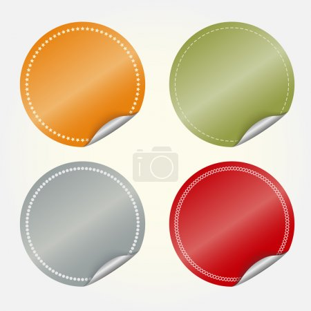 Illustration for Colored blank round stickers - vector illustration, you can change the shape and color as you wish - Royalty Free Image