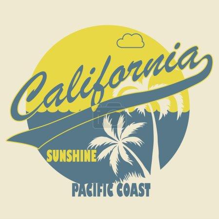 California Typographic t-shirt fashion design - Vector