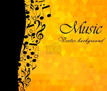 Illustration pour Fond musical, notes de musique et clef d'aigu sur fond doré, fond mosaïque triangles jaunes - illustration vectorielle - image libre de droit