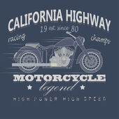 Motorcycle Racing Typography California Highway T-shirt Design