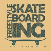 Skateboarding t-shirt graphic design Freestyle California Skate Board typography emblem - vector illustration