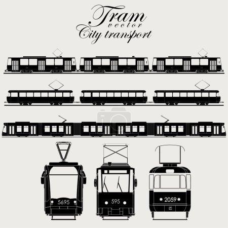 Illustration for Tram icon set, urban transport,  silhouette - vector illustration - Royalty Free Image