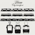 Tram icon set, urban transport,  silhouette - vect...