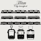 Tram icon set urban transport  silhouette - vector illustration