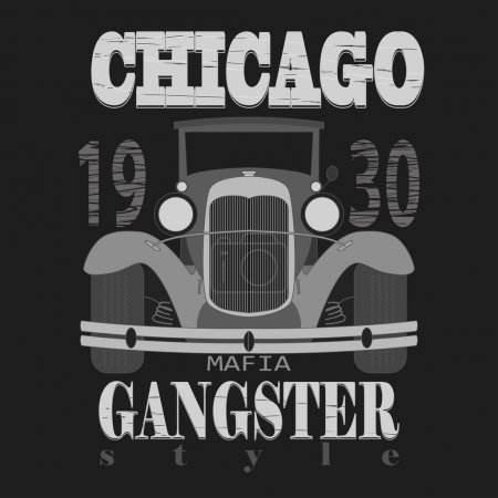 Chicagol t-shirt graphic design. Gangster style
