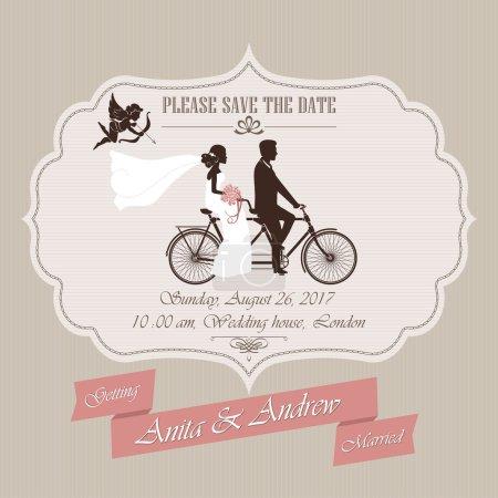Wedding invitation, tandem bicycle