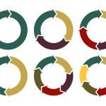 Cycle arrow diagrams set, circle arrows for infogr...