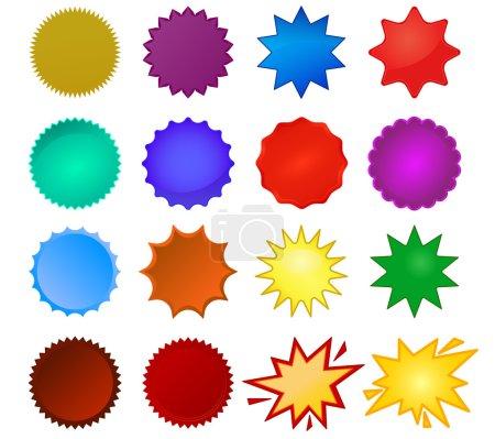 Illustration pour Set de joints Starburst, étoile éclatante, formes d'étoiles en verre et autocollants promotionnels. Collection vectorielle colorée (eps10) vous pouvez simplement changer de couleur et de taille - image libre de droit