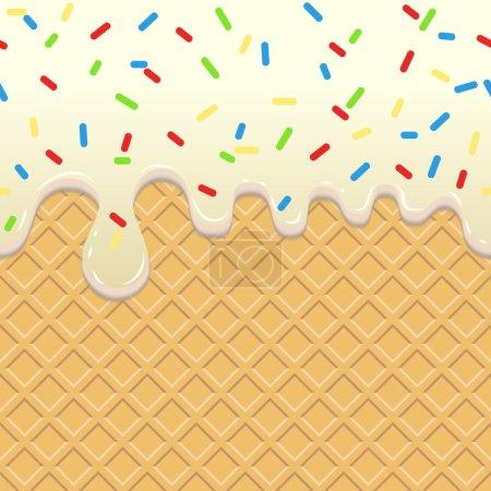 Illustration pour Crème glacée fluide, fond alimentaire sans couture. Éclat blanc dégoulinant sur gaufre. Biscuit gaufrette à la crème, délicieux confiserie. Vecteur - image libre de droit