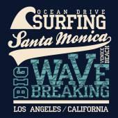 Surfing t-shirt graphic design Santa Monica Beach surfing California surfers wear typography emblem Creative design Vector