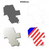 Middlesex County Connecticut outline map set