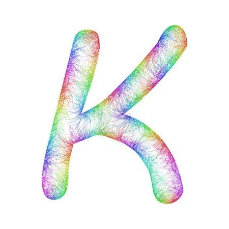 Rainbow sketch font design - letter K