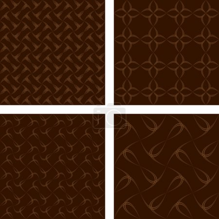 Illustration for Brown seamless curve pattern wallpaper set - Royalty Free Image