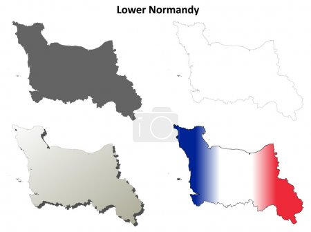 Lower Normandy blank detailed outline map set