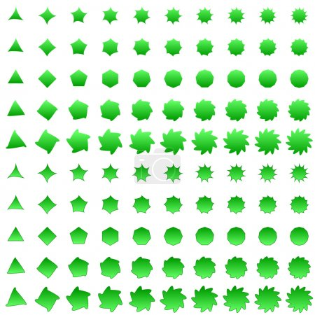 Green deformed polygon shape collection