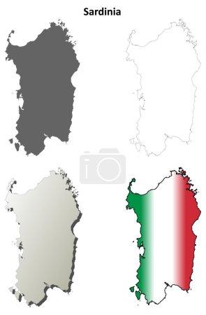 Sardinia outline map set
