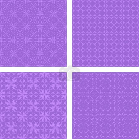 Illustration for Purple seamless pattern background set - Royalty Free Image