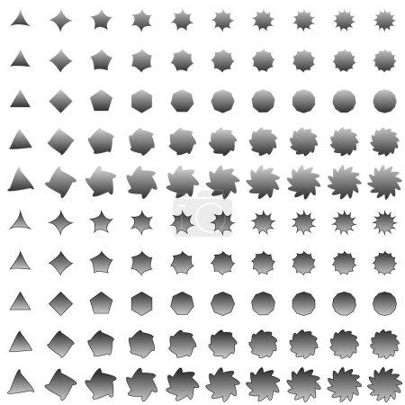 Grey deformed polygon shape collection