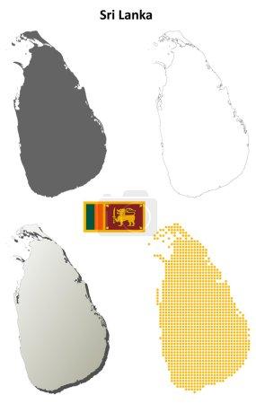 Sri Lanka outline map set