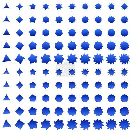 Blue deformed polygon shape collection