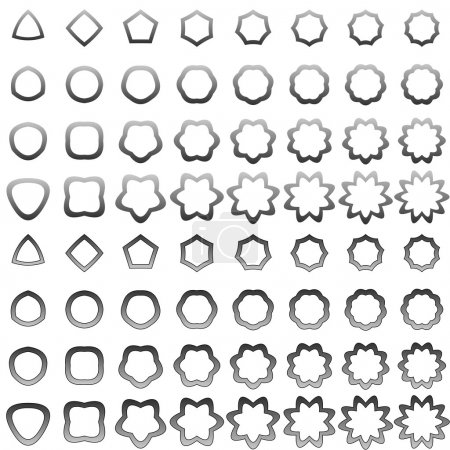 Grey curved polygon shape collection